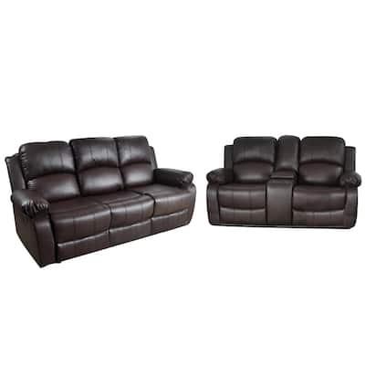 Queen Bee 2-Piece Brown Leather Living Room Set
