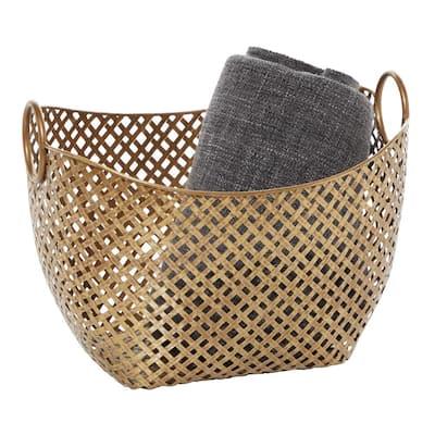Gold Metal Contemporary Storage Basket