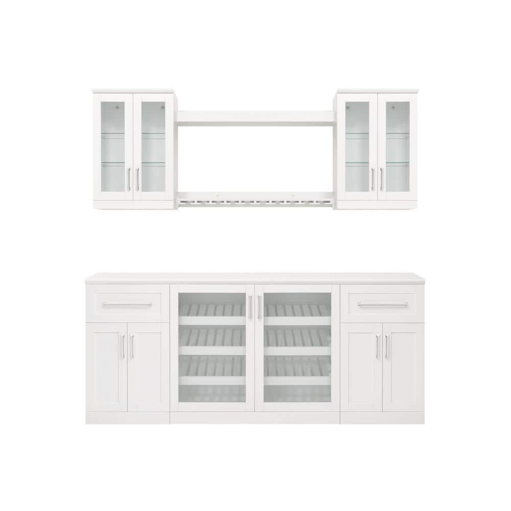 Newage Products Home Bar 21 In White Cabinet Set 8 Piece 62413 The Home Depot