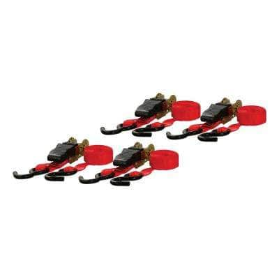 16' Red Cargo Straps with S-Hooks (500 lbs., 4-Pack)