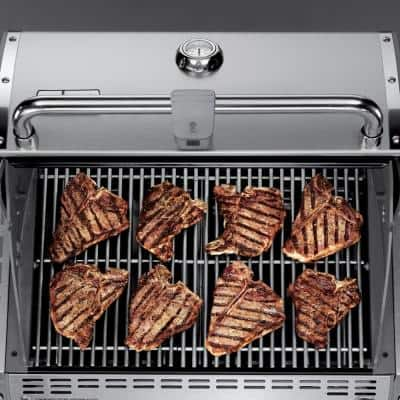 Summit S-460 4-Burner Built-In Propane Gas Grill in Stainless Steel with grill cover and Built-In Thermometer