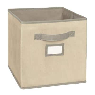 11 in. D x 11 in. H x 11 in. W Tan Fabric Cube Storage Bin
