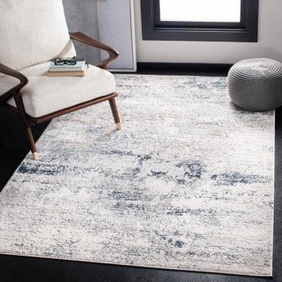 Amalfi Cream/Navy 9 ft. x 12 ft. Abstract Distressed Area Rug