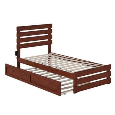 Oxford Walnut Twin Bed with Footboard and USB Turbo Charger with Twin Trundle
