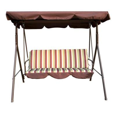 3-Person Metal Outdoor Patio Swing with Canopy