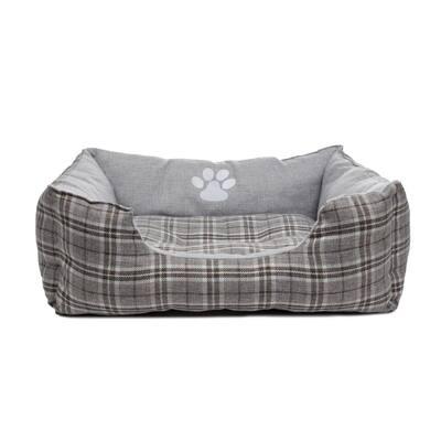 Harlee Large Grey Square Pet Bed