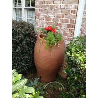 50 Gal. Terra Cotta Water Urn Flat-Back Rain Barrel with Integrated Planter and Diverter Kit