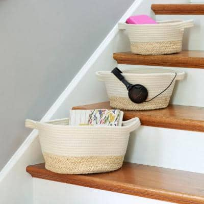 2-Tone White and Natural Rope Baskets with Built in Handles (Set of 3)