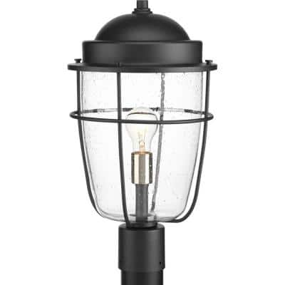 Holcombe Collection 1-Light Textured Black Clear Seeded Glass Farmhouse Outdoor Post Lantern Light