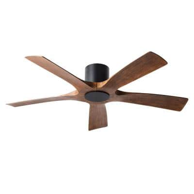 Aviator 54 in. Indoor/Outdoor Matte Black Distressed Koa 5-Blade Smart Flush Mount Ceiling Fan with Wall Control