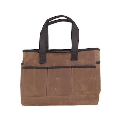 Waxed Canvas Khaki Utility Tote Bag