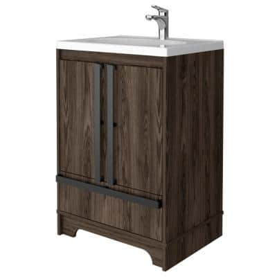 Tridell 24 in. W x 18 in. D x 36 in. H Bath Vanity in Walnut with Composite Vanity Top in White with White Basin