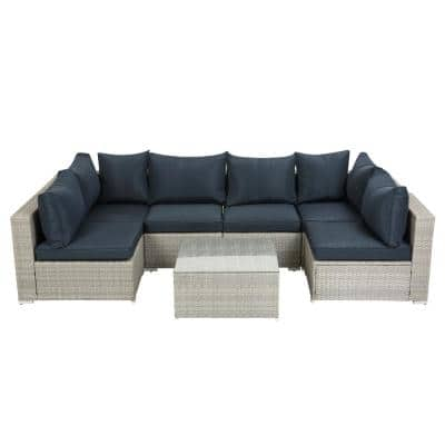 Outdoor Garden Patio Furniture 7-Piece PE Rattan Wicker Sectional Sofa Sets Navy Blue Cushioned with 2 Pillows