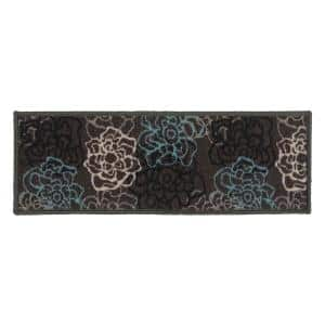 Contemporary Modern Floral Flowers Non-Slip Stair Treads 8.6'' x 26'' Gray (Set of 13)