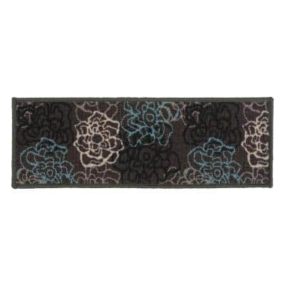 """Contemporary Modern Floral Flowers Non-Slip Stair Treads 8.6"""" x 26"""" Gray (Set of 4)"""