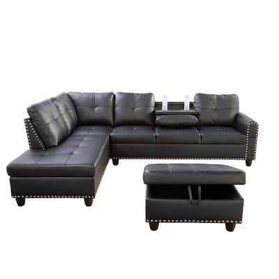 Star Home Living-3-Piece-Black-Faux Leather-6 Seats-L-Shaped-Left Facing-Sectionals