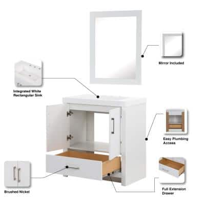 Lilliard 30.5 in. W Bath Vanity in White with Cultured Marble Vanity Top in White with White Basin and Mirror
