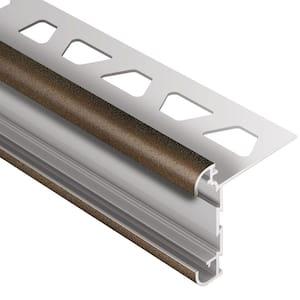 Rondec-CT Bronze Textured Color-Coated Aluminum 1/2 in. x 8 ft. 2-1/2 in. Metal Double-Rail Bullnose Tile Edging Trim