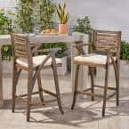 Hermosa Wood Outdoor Bar Stool with Beige Cushion (2-Pack)