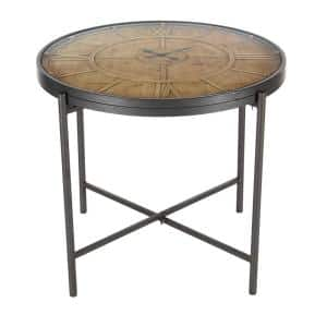 25 in. x 21 in. Brown Iron and Wood Round End/Side Table with Clock Design