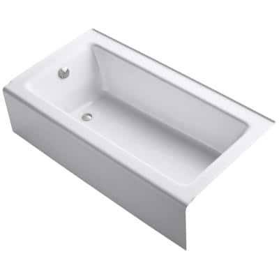 Bellwether 60 in. x 32 in. ADA Cast Iron Alcove Bathtub with Integral Farmhouse Apron and Left-Hand Drain in White