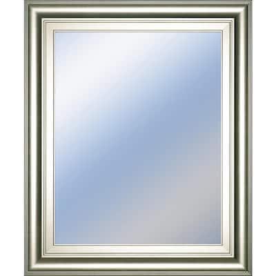 Medium Rectangle Metallic Silver Hooks Classic Mirror (22 in. H x 26 in. W)