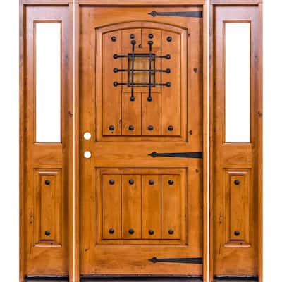 76 in. x 96 in. Mediterranean Alder Arch Top Clear Low-E Unfinished Wood Left-Hand Prehung Front Door/Half Sidelites