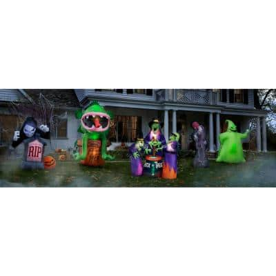 6 ft. Pre-Lit Inflatable Animated Projection Fog Effect-Fire and Ice-Shaking Reaper Scene (RRPm) Airblown
