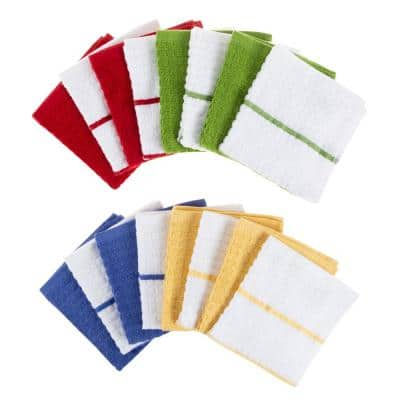 100% Cotton Solid and Striped Waffle Weave Set of 16 Dish Wash Clothes for Kitchen
