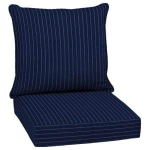 24 in. x 22.5 in. Navy Woven Stripe Outdoor 2-Piece Deep Seating Lounge Chair Cushion