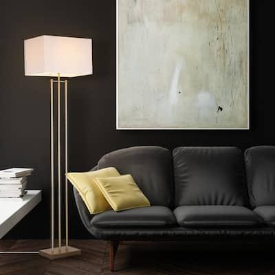 Soho 62 in. Matte Brass Floor Lamp with White Linen Shade