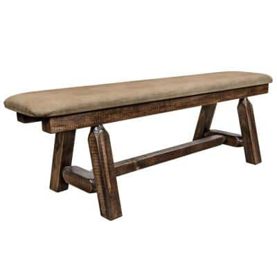 Homestead Collection 18 in. H Brown Wooden Bench with Buckskin Pattern Upholstered Seat, 5 ft. Length