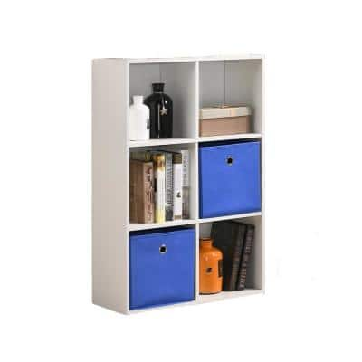 Royal 36 in. White Composite 6-Shelf Bookcase with Fabric Baskets