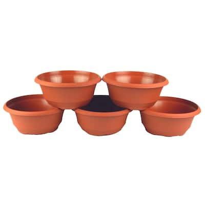 7.5 in. Plastic Bowl Planter Terra Cotta (Box of 5)