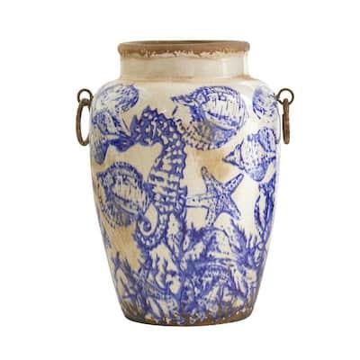 10.5 in. Nautical Ceramic Urn Vase