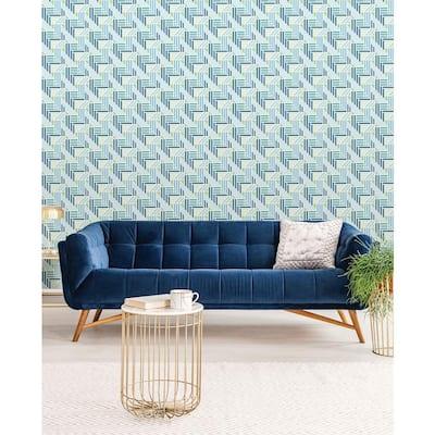 Teal Geo Medallion Peel and Stick Wallpaper