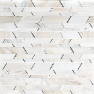 Metro Silver Pattern 12.09 in. x 12.19 in. x 8mm Stone Metal Stone Blend Mesh-Mounted Mosaic Tile (10.2 sq. ft.)