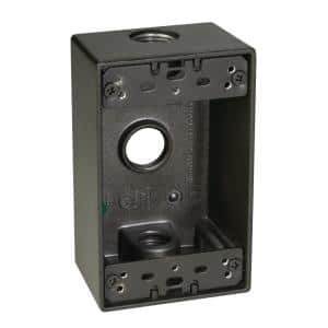 1/2 in. 1-Gang 3-Holes Weatherproof Box with Outlets