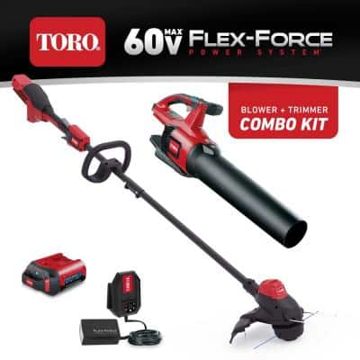 60-Volt Max Lithium-Ion Cordless String Trimmer and Leaf Blower Combo Kit (2-Tool), 2.0 Ah Battery and Charger Included