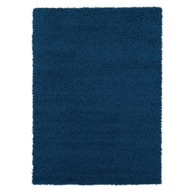 Shag Collection Navy 5 ft. x 7 ft. Area Rug