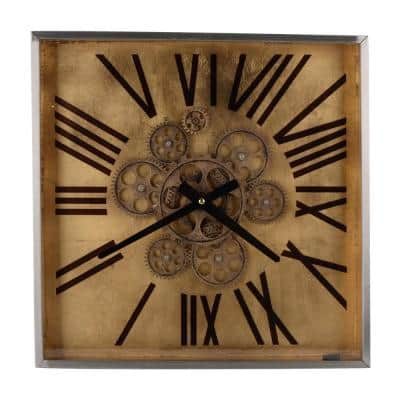 "16"" Altus Square Classic Face Wall Clock - Gold"