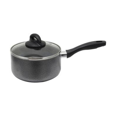 Clairborne 2.5 qt. Aluminum Nonstick Sauce Pan in Charcoal Grey with Glass Lid
