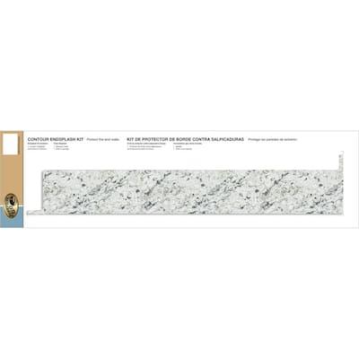 4-1/2 in. x 25-3/4 in. Laminate Endsplash Kit in White Ice Granite with Eased Edge