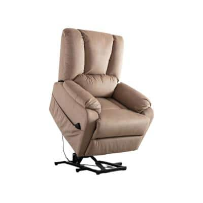 Morden Overstuffed Comfortable Velvet Adjustable Power Lift Recliner Chair for Elderly (Mocha)