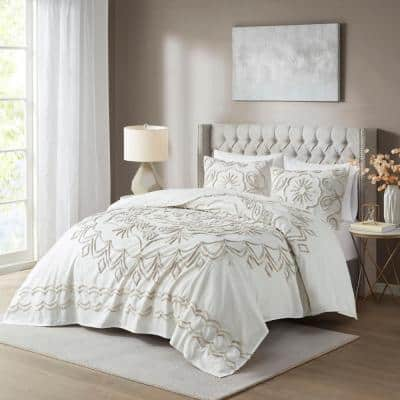 Juliana 3-Piece Ivory/Taupe King/California King Tufted Cotton Chenille Coverlet Set