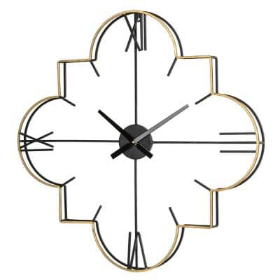 31.90 in. D Modern Metal Golden and Black Wall Clock