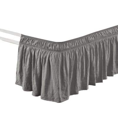 Ruched 20 in. Drop Length Ruffle Elastic Easy Wrap Around Dark Gray Single Twin/Twin-XL/Full Bed Skirt