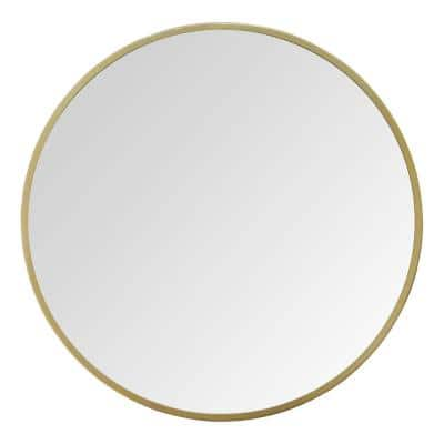 "28"" Aubrey Gold Metal Framed Wall Mirror"