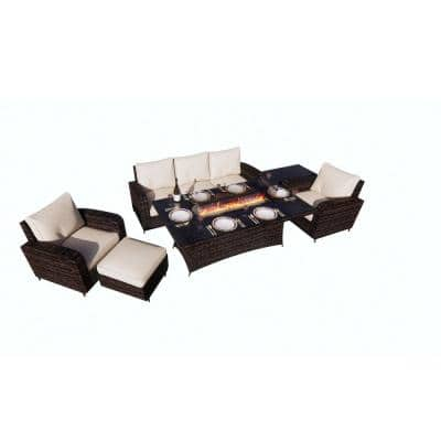 Amy Brown 6-Piece Wicker Patio Fire Pit Conversation Sofa Set with Beige Cushions