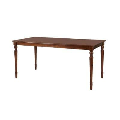 Walnut Finish Rectangular Dining Table for 6 with Turned Leg Detail (66 in. L x 28.70 in. H)